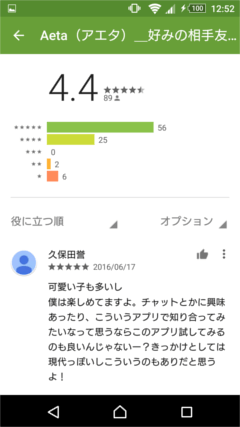 Aeta GooglePlayの口コミ