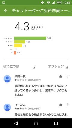 チャットーク GooglePlay評判
