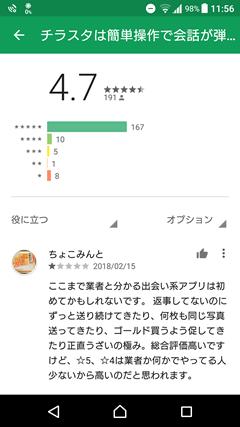 GooglePlayでのチラスタに対する評判や口コミ