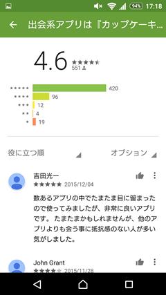 カップケーキ GooglePlay口コミ