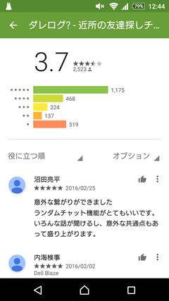 ダレログ GooglePlay評判