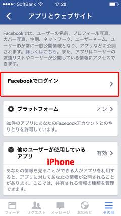 Facebook「アプリとウェブサイト」 iPhone