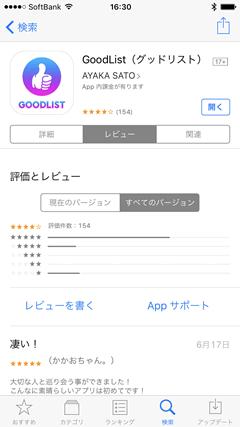 GoodList(グッドリスト) AppStore口コミ