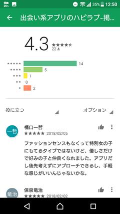 ハピラブ GooglePlay口コミ