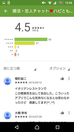 ハピとも GooglePlay口コミ