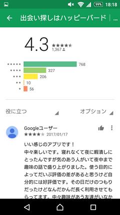 ハッピーバード GooglePlay口コミ