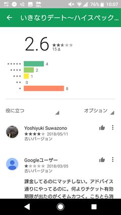 いきなりデート GooglePlay評価とレビュー