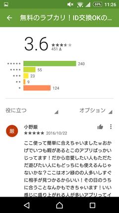 ラブカリ AppStore口コミ