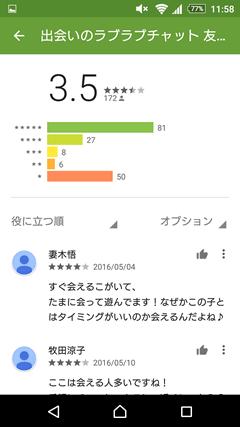 ラブラブチャット GooglePlay口コミ
