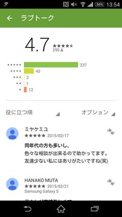 ラブトーク GooglePlayレビュー