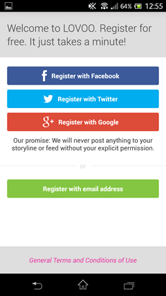 LOVOO ソーシャルアカウントで登録