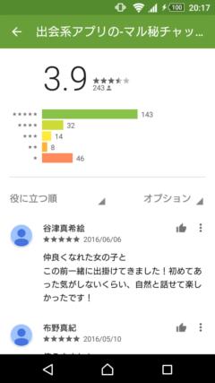 マル秘チャット GooglePlayの口コミ