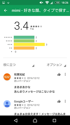 mimi GooglePlay口コミ