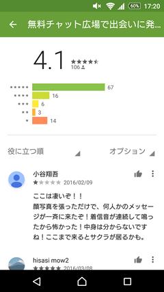 おしゃべり広場 GooglePlay評判
