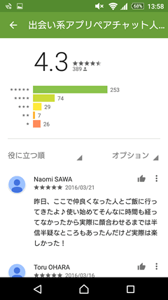 ペアチャット GooglePlay評判
