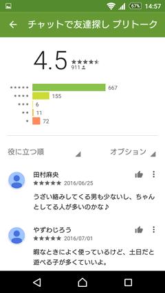プリトーク GooglePlay口コミ