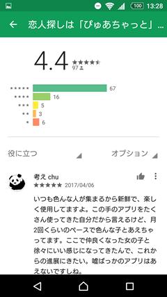 ぴゅあちゃっと GooglePlay口コミ