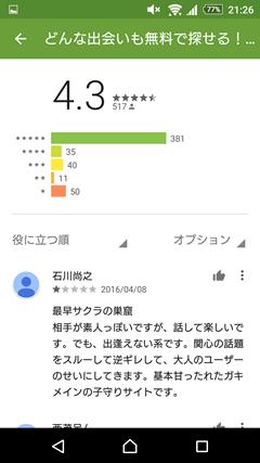 SAGASO GooglePlayの口コミ