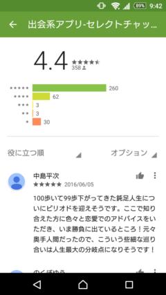 セレクトチャット GooglePlayの口コミ