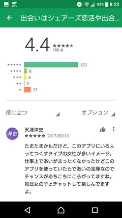 シェアーズ GooglePlay口コミ