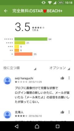 スタービーチプラス GooglePlayの口コミ