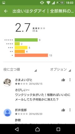 タダアイ GooglePlayの口コミ