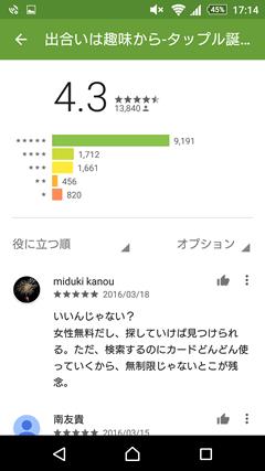 タップル誕生 GooglePlay評判