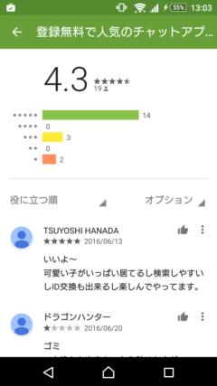 チカトーク GooglePlayの口コミ