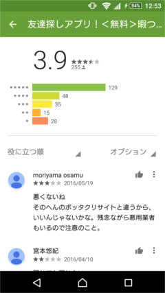 友達探しアプリ GooglePlayの口コミ