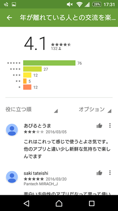 年上フレンズ GooglePlay評判