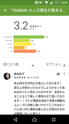 TSUBAKI GooglePlay口コミ