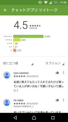 ツイトーク GooglePlayの口コミ