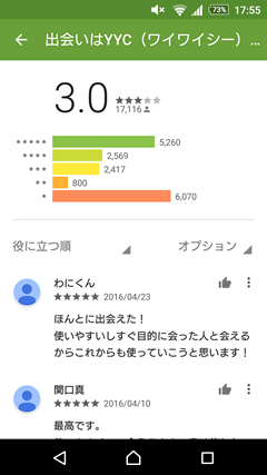 YYC(ワイワイシー) GooglePlay評判